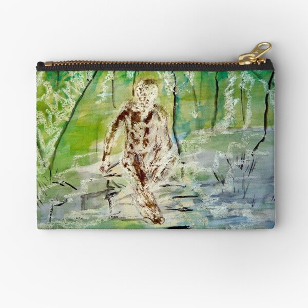 Man Pensive by a Stream Zipper Pouch