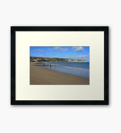 Swanage Beach & Ballard Down Framed Print