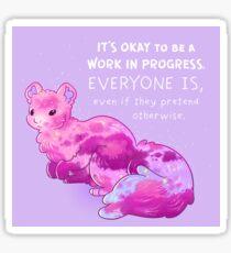 """It's Okay to be a Work in Progress"" Soft Sky Squirrel Sticker"