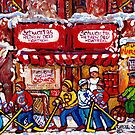 COLLECTOR'S VINTAGE MONTREAL PAINTINGS FOR SALE SNOWY STREET HOCKEY SMOKED MEAT DELI ART CAROLE SPANDAU by Carole  Spandau