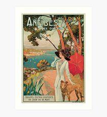 Weinlese-Antibes Cote d'Azur der französischen Riviera Anzeige Kunstdruck