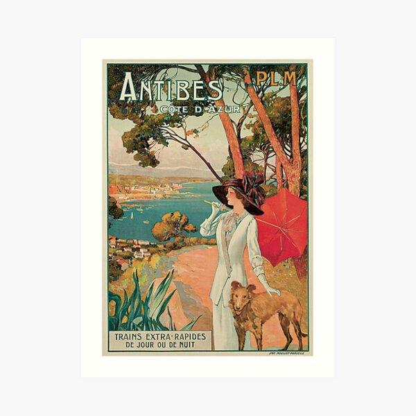 Jahrgang Antibes Französisch Riviera Cote d'Azur Anzeige Kunstdruck