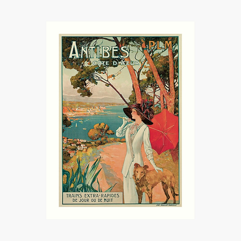 Anuncio Vintage Antibes French Riviera Cote d'Azur Lámina artística