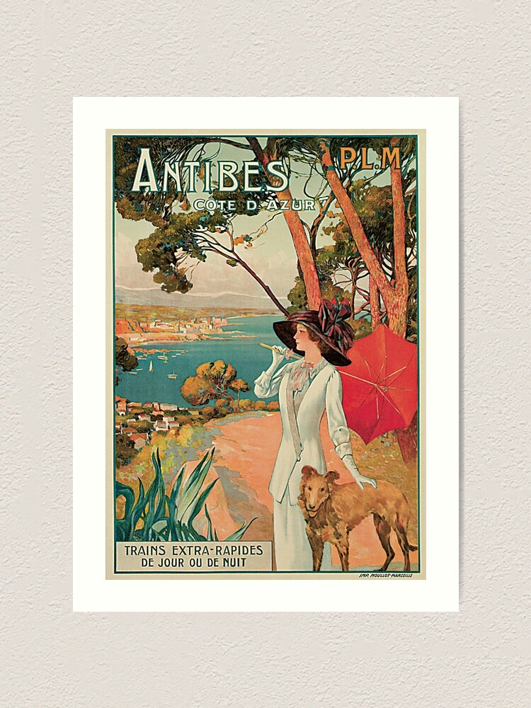 Cote D/' Azur Trains France Vintage French Riviera Travel Advertisement Poster