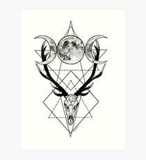 Triple goddess and horned god Art Print