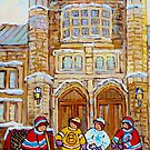 HISTORIC CANADIAN ART AND ARCHITECTURE WESTMOUNT VICTORIA HALL HOCKEY KIDS GAME IN THE PARK C SPANDAU ARTIST by Carole  Spandau