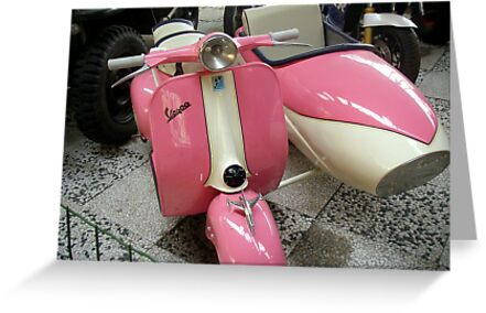 Pink Vespa With Sidecar