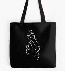 Cute Heart~ White on Black Tote Bag