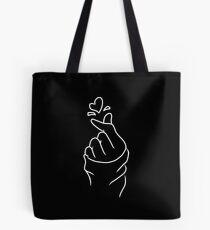 Nettes Herz ~ Weiß auf Schwarzem Tote Bag