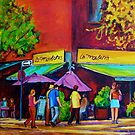 COLORFUL CAFES PARIS STYLE SIDEWALK BISTRO PAINTINGS FOR SALE SUNNY UMBRELLA OUTSIDE DINERS CAROLE SPANDAU ART  by Carole  Spandau
