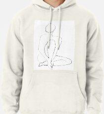 Nude Model Pose Drawing Pullover Hoodie