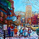 WINTER WALK CRESCENT STREET MONTREAL ORIGINAL ARTWORK FOR SALE CANADIAN WINTER SCENE PAINTING C SPANDAU  by Carole  Spandau