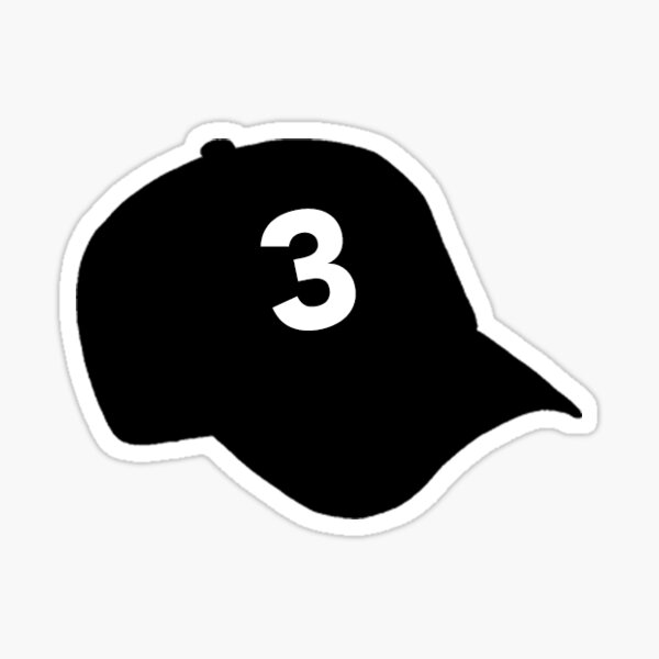 "Chance The Rapper ""3"" Hat Sticker – Black Sticker"