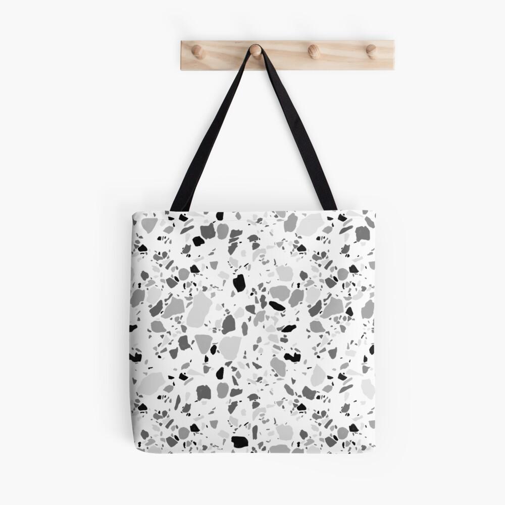 Terrazzo pattern in black and white in pencil Tote Bag