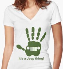 Jeep wave! It's a jeep thing! Women's Fitted V-Neck T-Shirt
