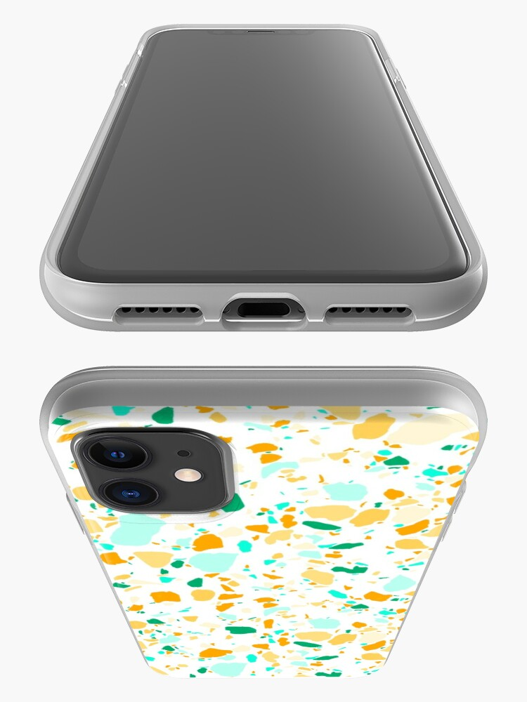 Alternate view of Terrazzo pattern in green and gold hand drawn iPhone Case & Cover