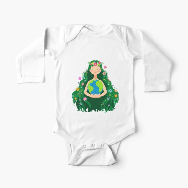 Beautiful Flowing Flower Earth Mother Figure  Long Sleeve Baby One-Piece