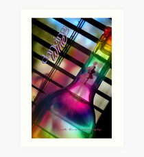 Bent Bottle Dancing Wine © Vicki Ferrari Art Print