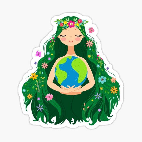 Beautiful Flowing Flower Earth Mother Figure  Sticker