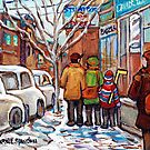 ORIGINAL MONTREAL STREET SCENE PAINTINGS FOR SALE WINTER IN THE CITY RUE ST VIATEUR CAROLE SPANDAU  by Carole  Spandau