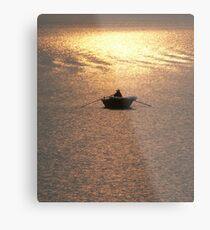 Halong Bay fisherman at dusk, Vietnam Metal Print