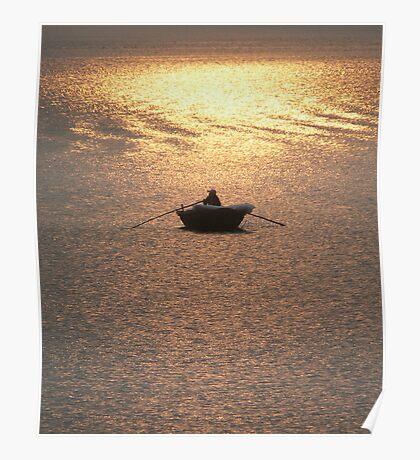 Halong Bay fisherman at dusk, Vietnam Poster