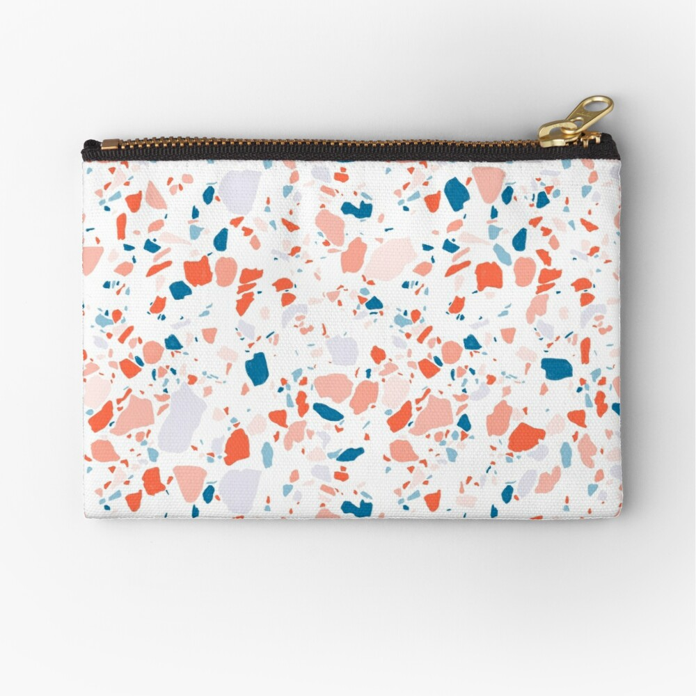 Terrazzo pattern in blue and pink - hand drawn Zipper Pouch