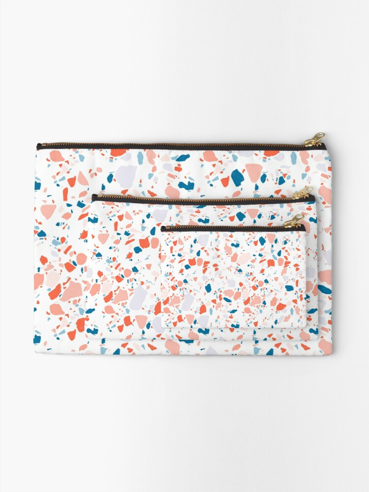 Alternate view of Terrazzo pattern in blue and pink - hand drawn Zipper Pouch