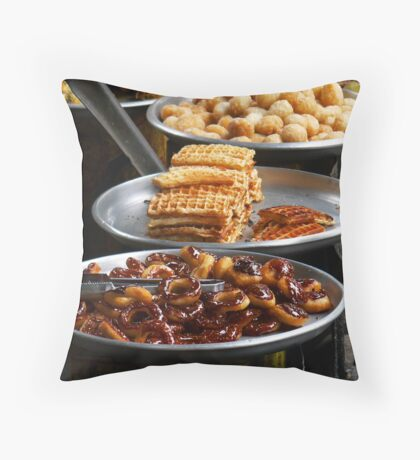 Delicious snacks in Phnom Penh's Russian Market Throw Pillow