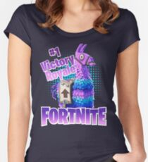 Fortnite Victory Royale Lucky Llama Women's Fitted Scoop T-Shirt