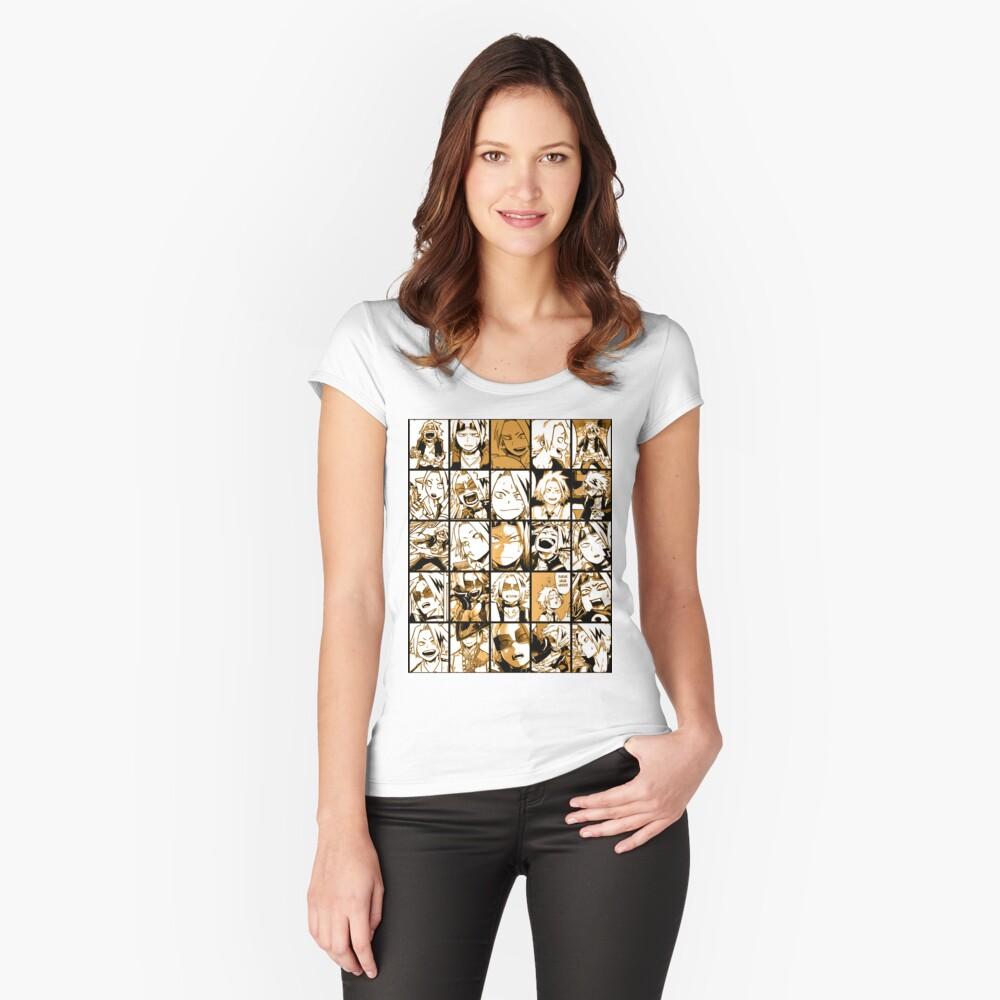 BNHA Kaminari Denki Collage Tailliertes Rundhals-Shirt