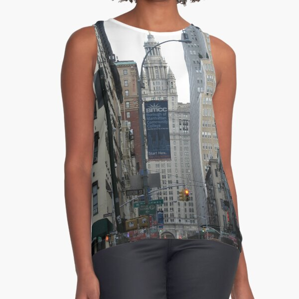 Skyscraper, Pattern, tracery, weave, template, routine, stereotype, gauge, mold Sleeveless Top