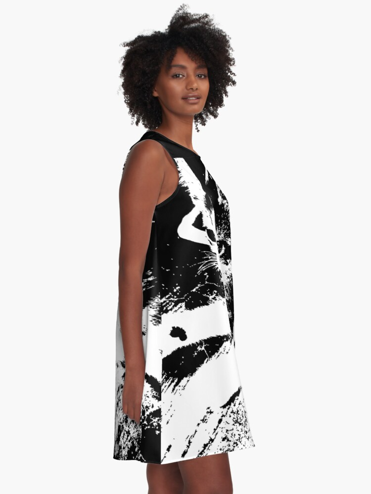 Alternate view of Little Kitten Cute Black and White Photography A-Line Dress