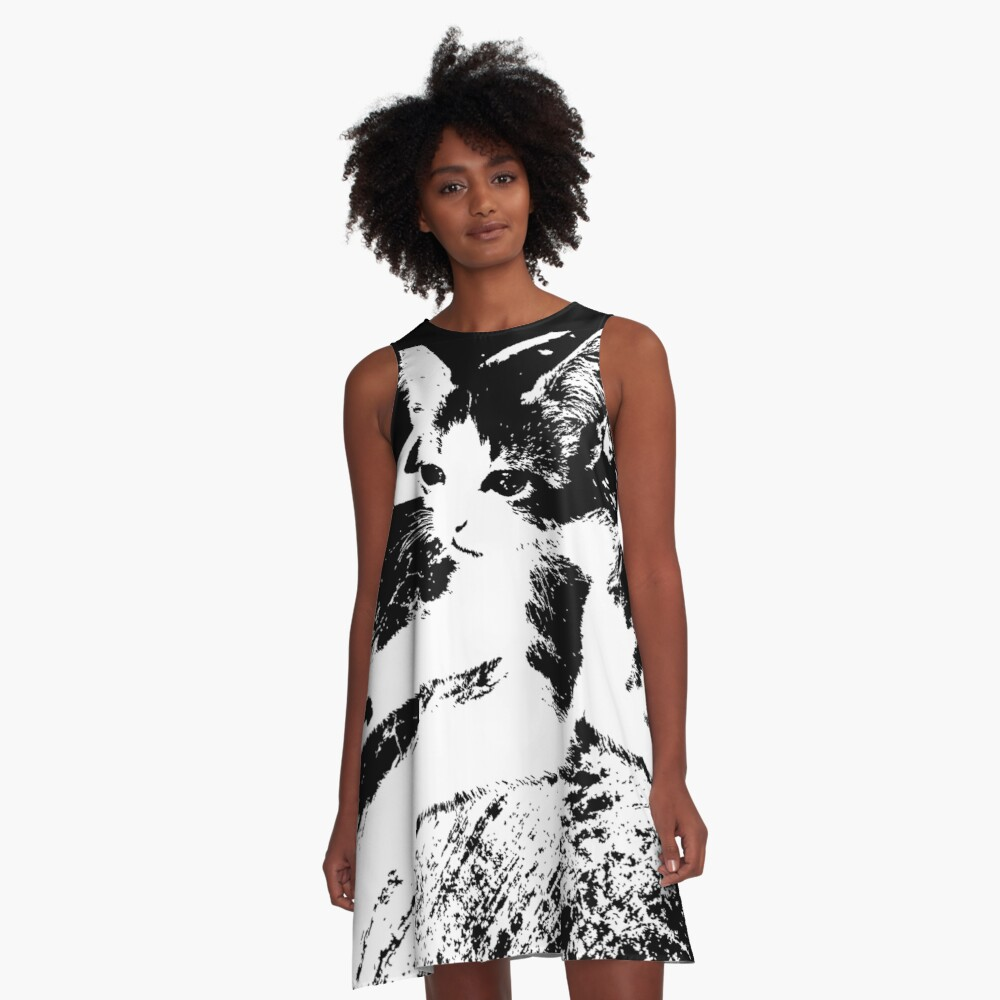 Little Kitten Cute Black and White Photography A-Line Dress