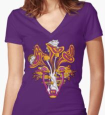 Psychedelic Mushroom Wolf Women's Fitted V-Neck T-Shirt
