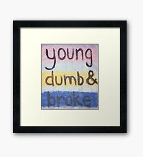 young dumb and broke Framed Print