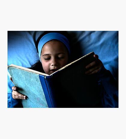 Bookworm in blue Photographic Print