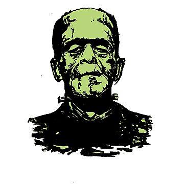 Retro Frankenstein Monster- Lime Green by Kapitan515