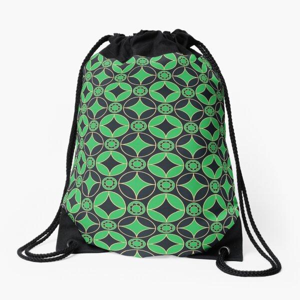 art deco  motifs in green&black Drawstring Bag