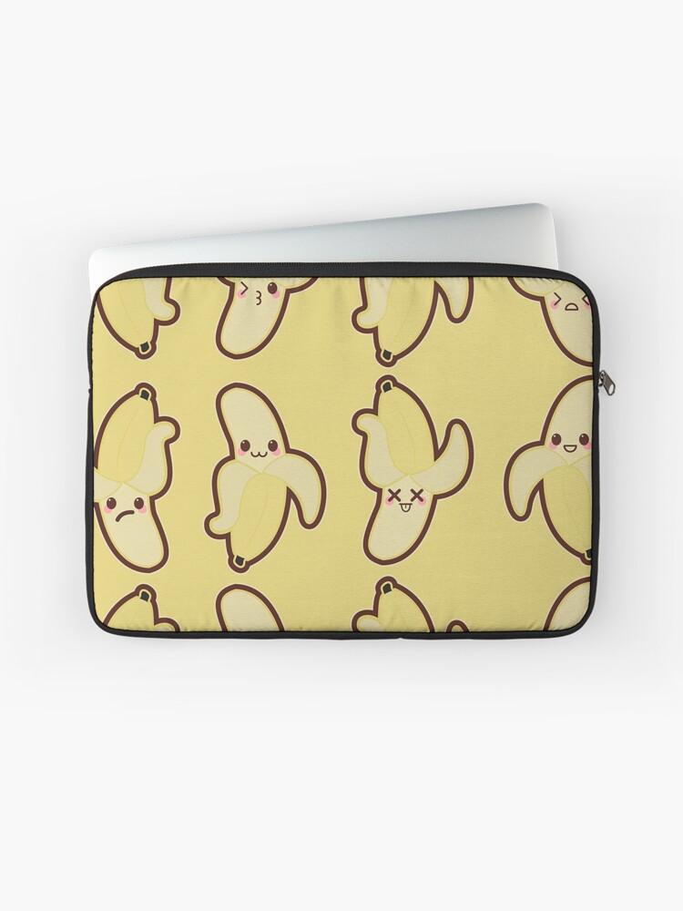 Kawaii Banana Cute Pattern Wallpaper Laptop Sleeve By Susurrationstud Redbubble