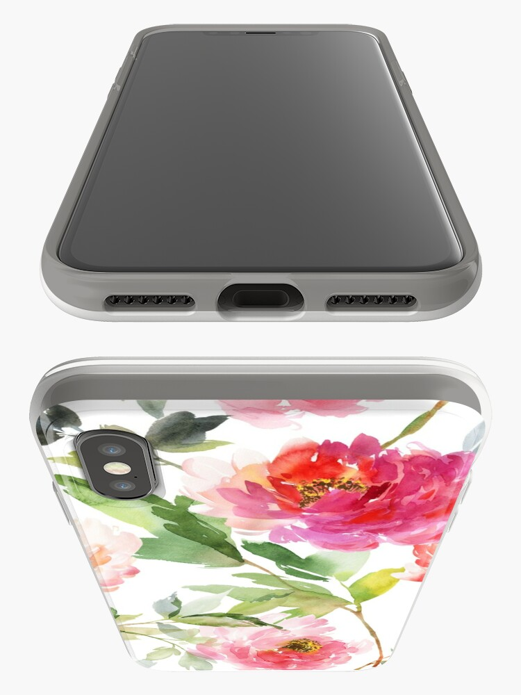 Alternate view of Peonies Pink Watercolor Pattern iPhone Case & Cover