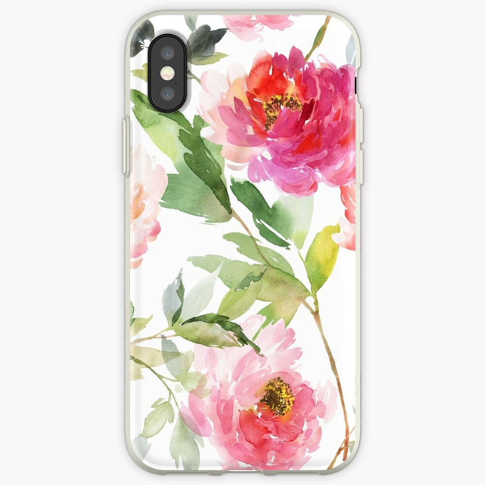 Peonies Pink Watercolor Pattern iPhone Case & Cover