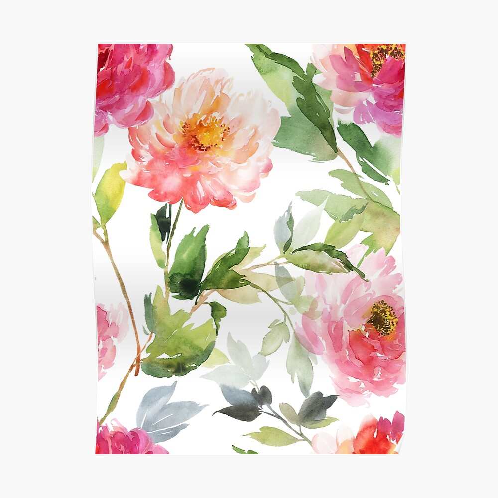 Peonies Pink Watercolor Pattern Poster