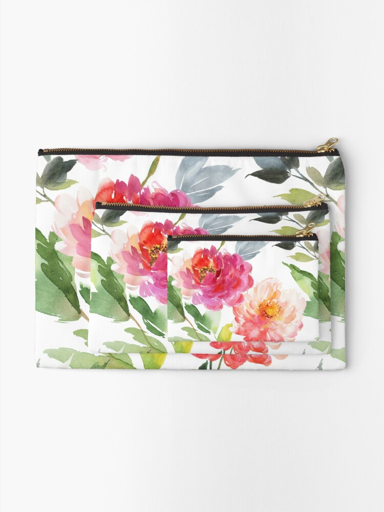 Alternate view of Peonies Pink Watercolor Pattern Zipper Pouch