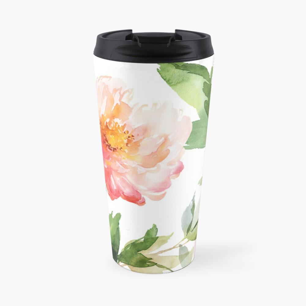 Peonies Pink Watercolor Pattern Travel Mug