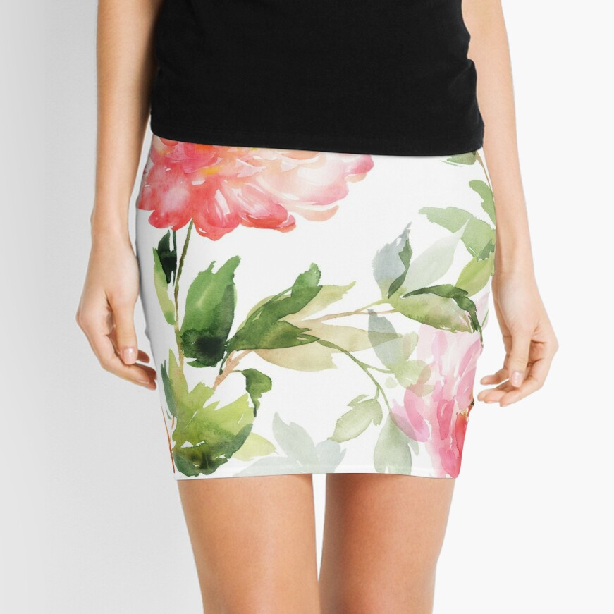 Peonies Pink Watercolor Pattern Mini Skirt