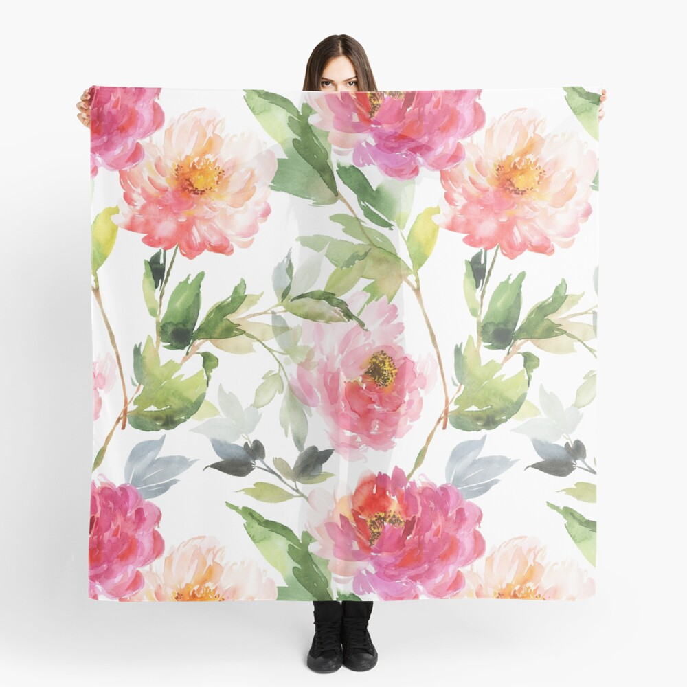 Peonies Pink Watercolor Pattern Scarf