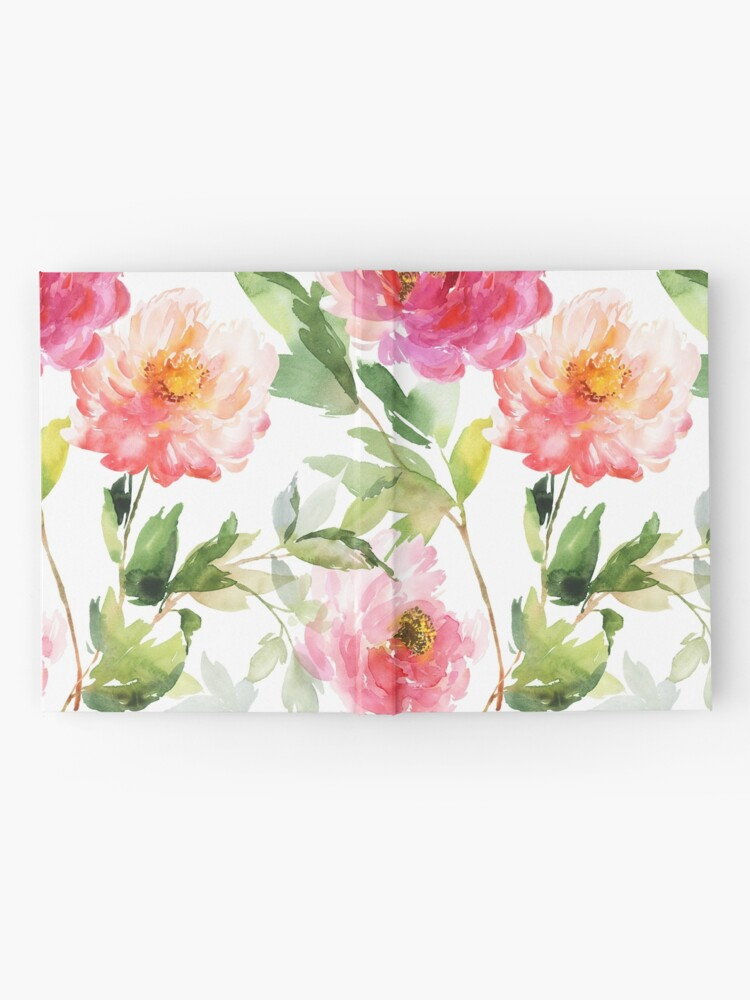 Alternate view of Peonies Pink Watercolor Pattern Hardcover Journal