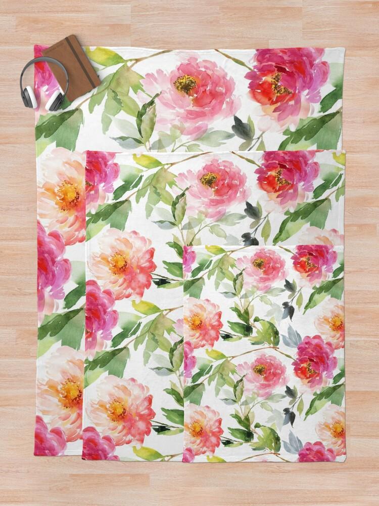 Alternate view of Peonies Pink Watercolor Pattern Throw Blanket