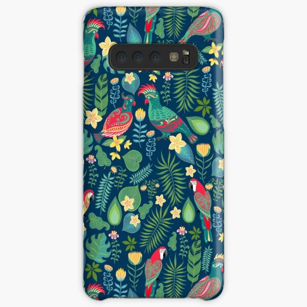 Bright parrots with ornament on the background of tropical flowers and leaves. Samsung Galaxy Snap Case